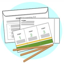 Fecal Occult Blood Test (FOBT) kit; shows card, applicator, and return envelope.